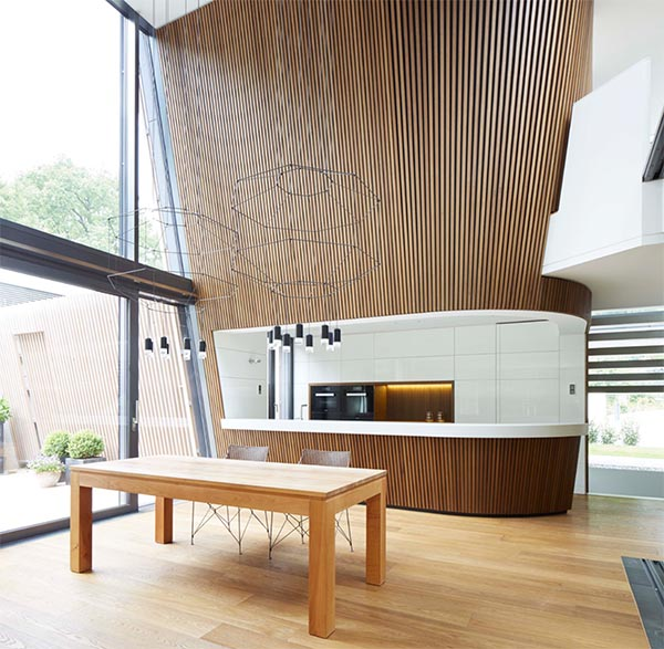 Double height dining space kitchen interior