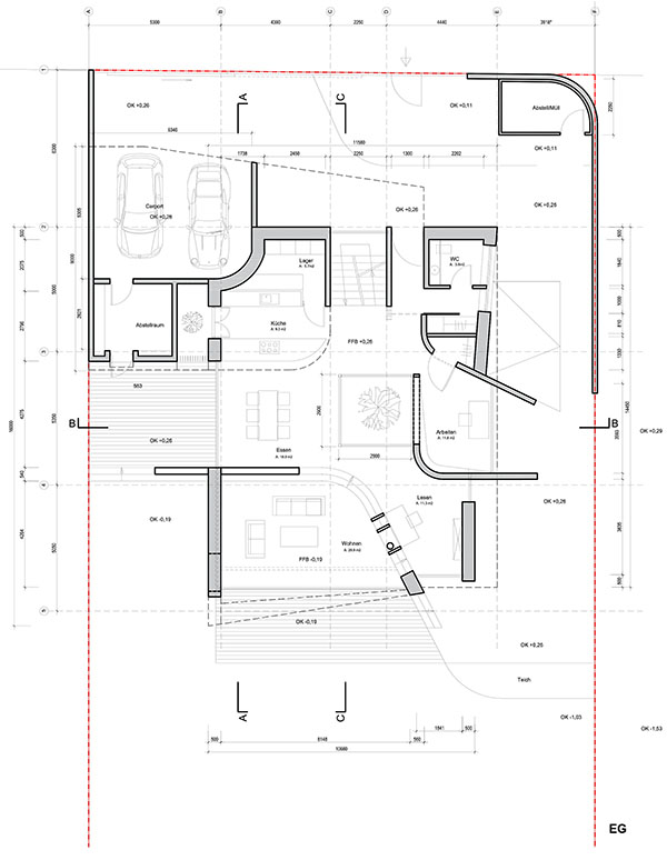 Ground floor plan cad architect design