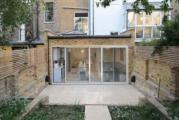 Rear kitchen extension garden terrace cedar screening