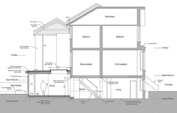 Section drawing rear garden extension