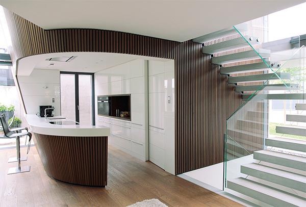 cantilever stone stair treads glass balustrade