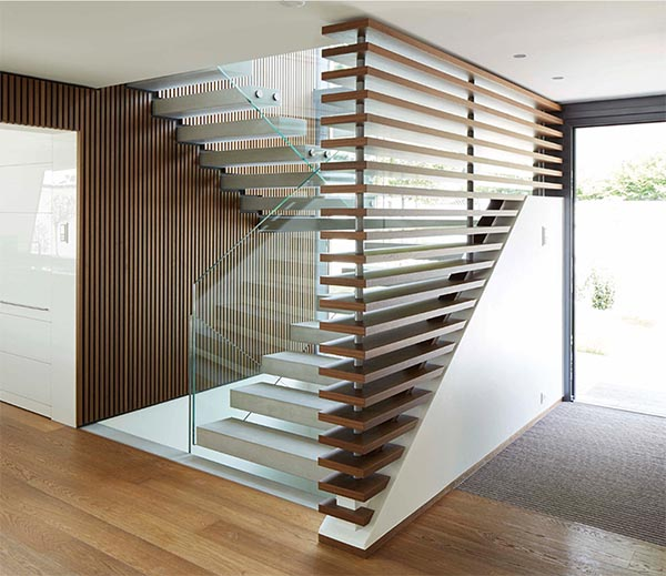 entrance hall timber louvres hardcastle architects